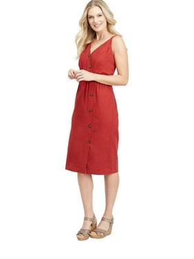 9089da6d03835 Product Image maurices Button Front Linen Dress - Womens V Neck