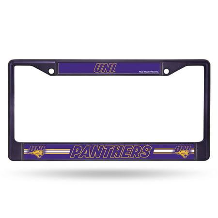 Iowa State Chrome Metal (Northern Iowa Panthers NCAA Purple Painted Chrome Metal License Plate)