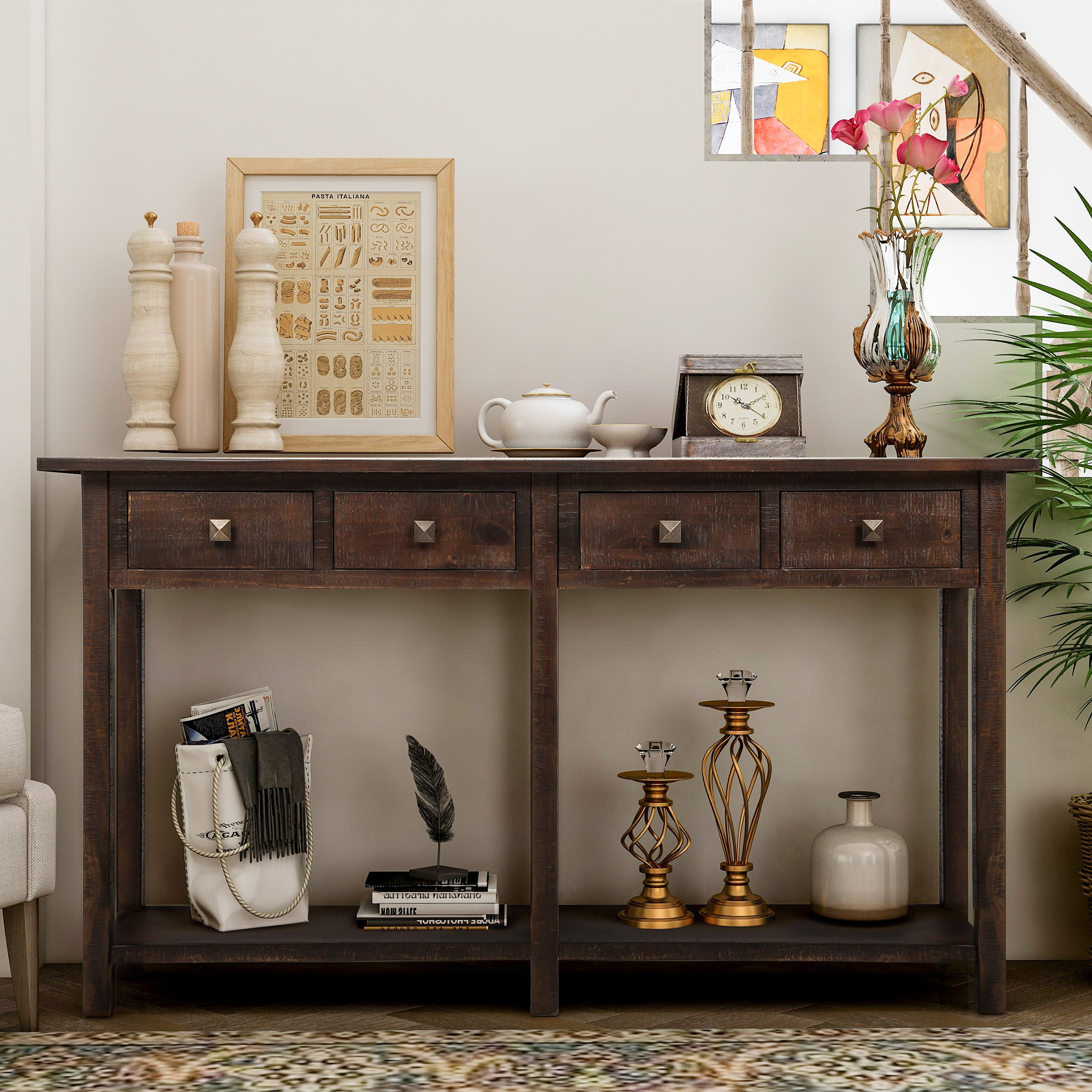 Jumper 59 Console Table Rustic Entryway Table Solid Wood Storage Console Table With Two Storage Drawers And Bottom Shelf For Living Room Espresso Walmart Com Walmart Com
