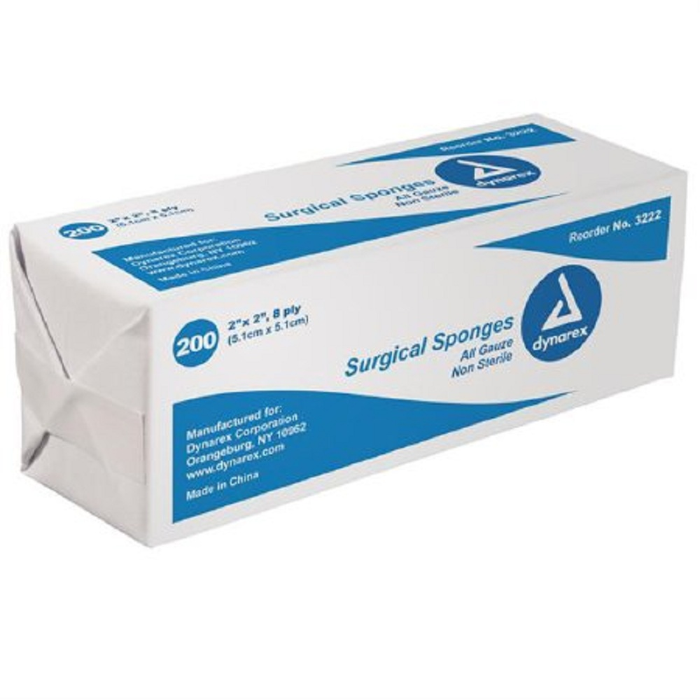 Dynarex - Gauze Sponge Cotton 8-Ply 2 X 2 Inch Square NonSterile - 5000/Case