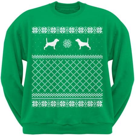- Beagle Green Adult Ugly Christmas Sweater Crew Neck Sweatshirt