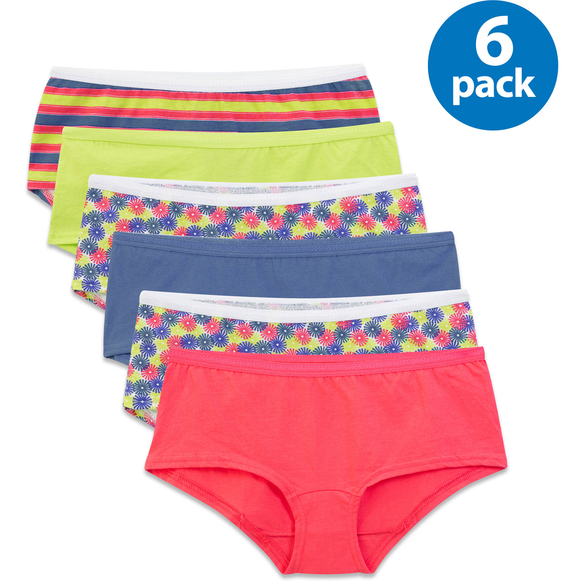 Fruit of the Loom Ladies' 6pk Cotton Assorted Boy Shorts