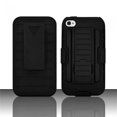 Insten For Iphone 4   4Sg Irobot Combo Black W  Kickstand   Holster Case