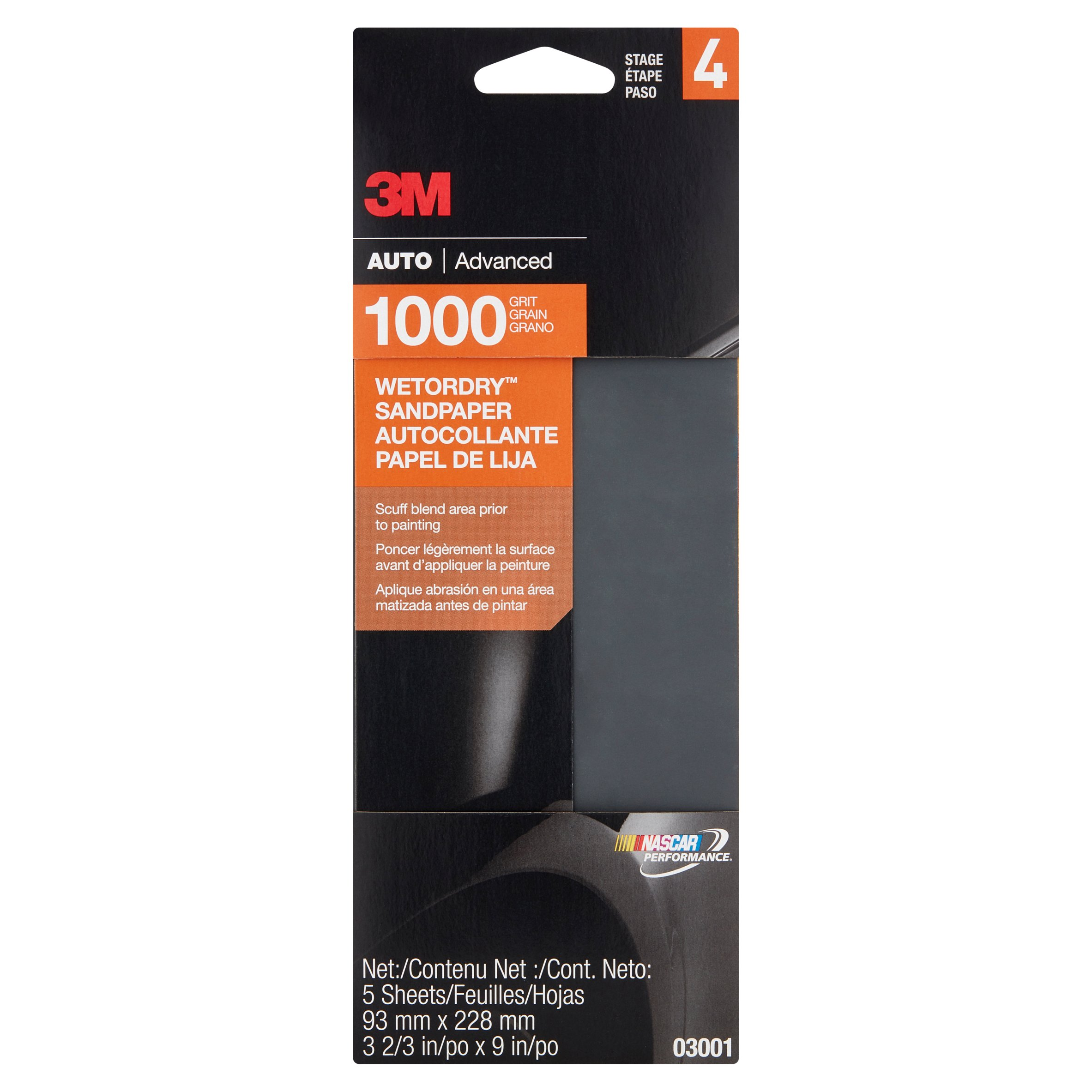 3M Nascar Performance Auto Advanced 1000 Grit Sandpaper Stage 4, 5 count by 3M