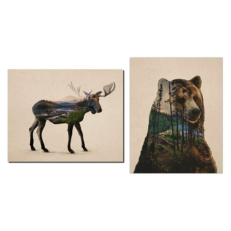 Rustic Double Exposure Bull Moose and Bear Landscape Set; Cabin Lodge Decor; One 11x14in and One 14x11in Unframed Poster Print - Bull And Bear Chicago Halloween