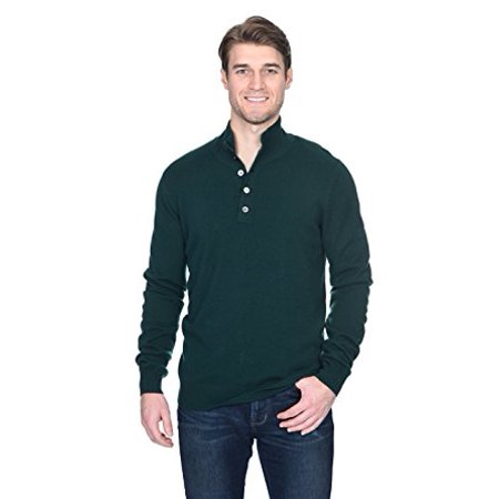 State Fusio Men's Cashmere Wool Button Mock-Neck Classical Fashion Polo Collar Sweater