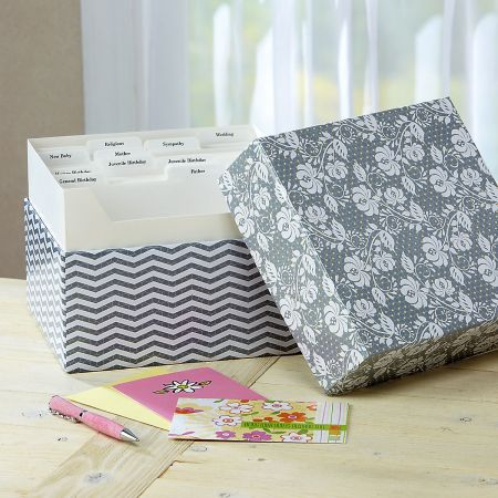 Grey Roses Greeting Card Organizer Box