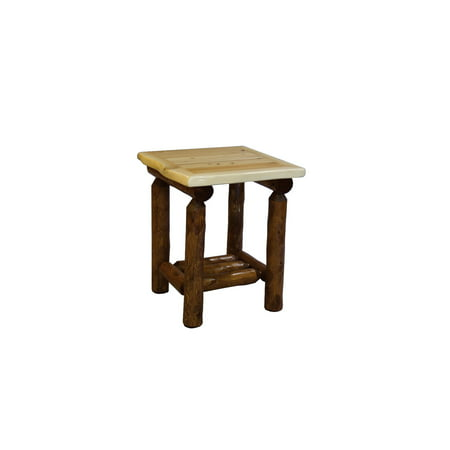 - Furniture Barn USA™ Rustic White Cedar Log Two Tone Side Table with Shelf