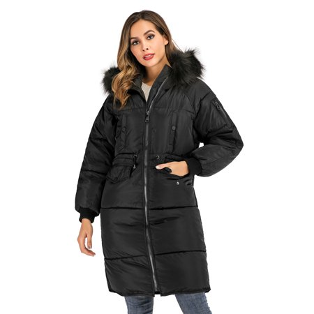 DODOING Women's Oversize Fur Collar Hoodie Maxi Down Parka Coat Knee Length Winter Jacket with Pockets Knee Length Nylon Coat