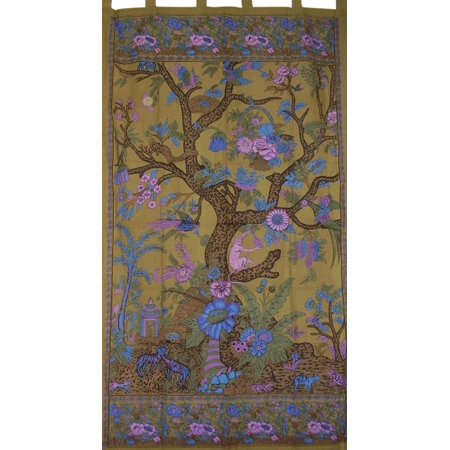 Tree of Life Tab Top Curtain Drape Panel Cotton 44