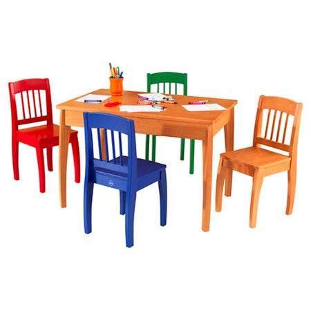 Pleasant Kidkraft Euro Honey Kids 5 Piece Table And Chair Set Andrewgaddart Wooden Chair Designs For Living Room Andrewgaddartcom
