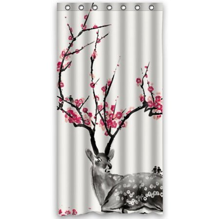 GreenDecor Deer Novelty Waterproof Shower Curtain Set With Hooks Bathroom Accessories Size 48x72 Inches
