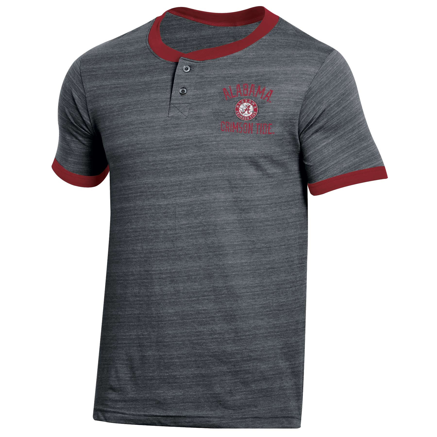 Men's Russell Heathered Gray Alabama Crimson Tide Distressed Two-Button T-Shirt