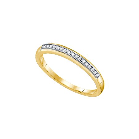 10k Yellow Gold Womens Round Diamond Bridal Wedding Anniversary Ring Band ( .05 cttw.) Diamond Bridal Band Ring