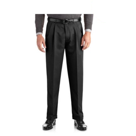 George Big Men's Pleated Cuffed Microfiber Dress Pant With Adjustable Waistband Cuffed Dress Pants