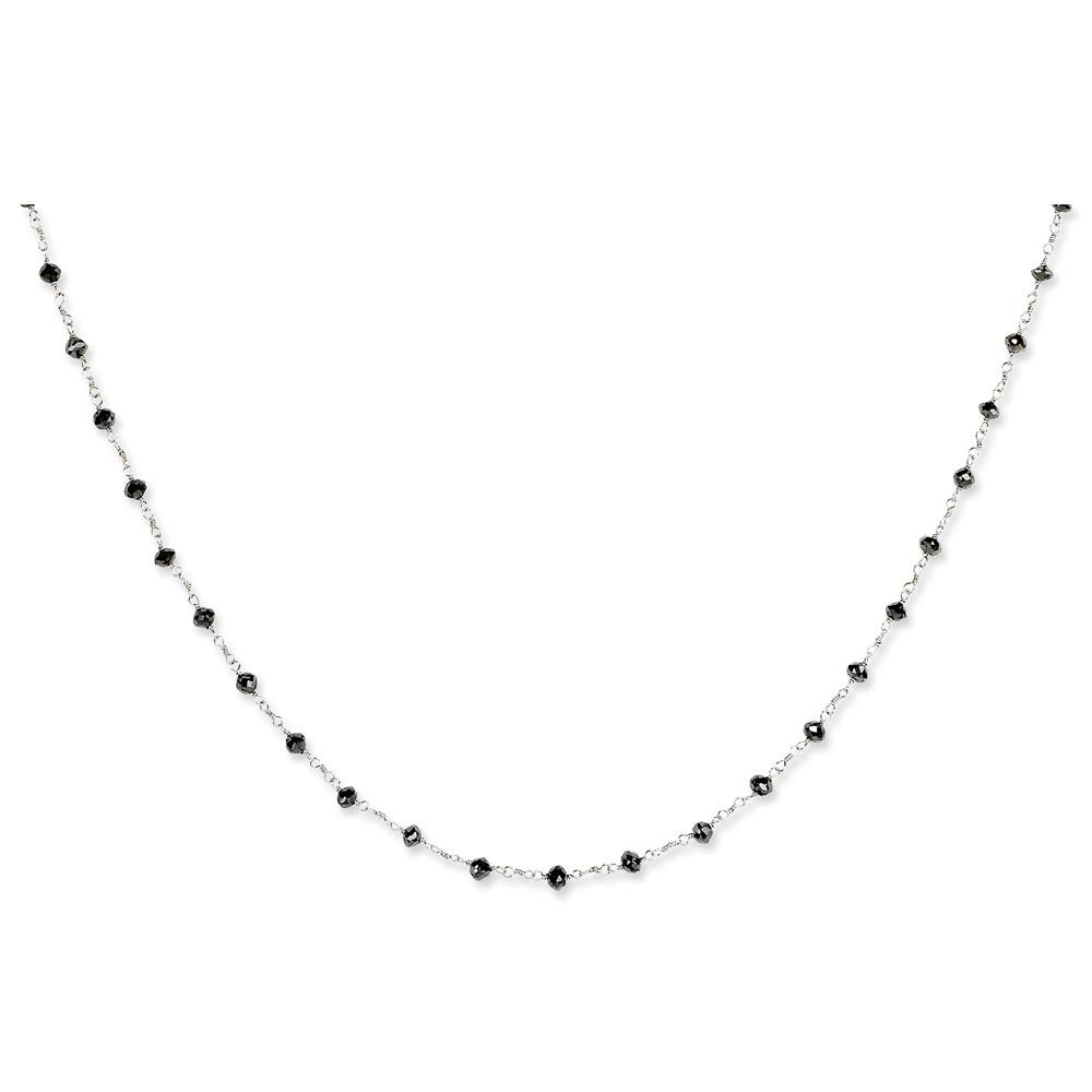 "14K White Gold (5.8cttw)Black Diamond Briolette Necklace -16"" (16in x 3mm)"