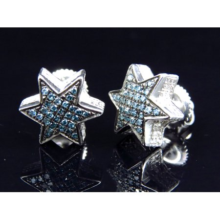 Star Shaped Diamond Stud Earrings Finished In White Gold 10mm 0 25ct