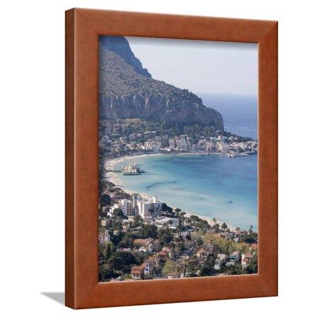 Mediterranean Bay (Bay and Pier, Mondello, Palermo, Sicily, Italy, Mediterranean, Europe Framed Print Wall Art By Martin Child )
