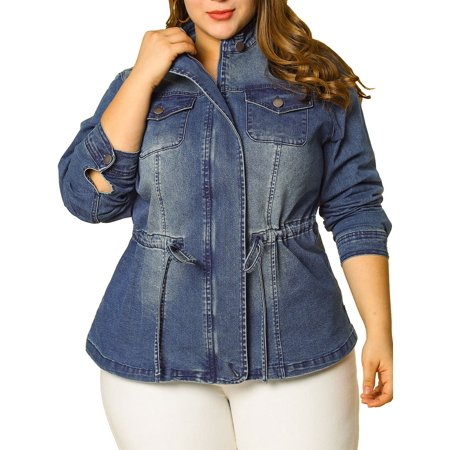 Women's Plus Size Stand Collar Zip-up Drawstring Denim Jacket 1X Dark Blue