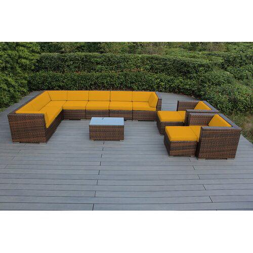 Bayou Breeze Konieczny 12 Piece Sunbrella Sectional Seating Group with Cushions
