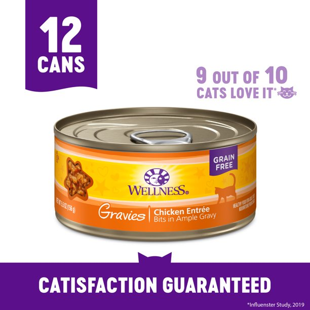Wellness Complete Health Natural Grain Free Wet Canned Cat Food, Gravies Chicken, 5.5-Ounce Can (Pack of 12)
