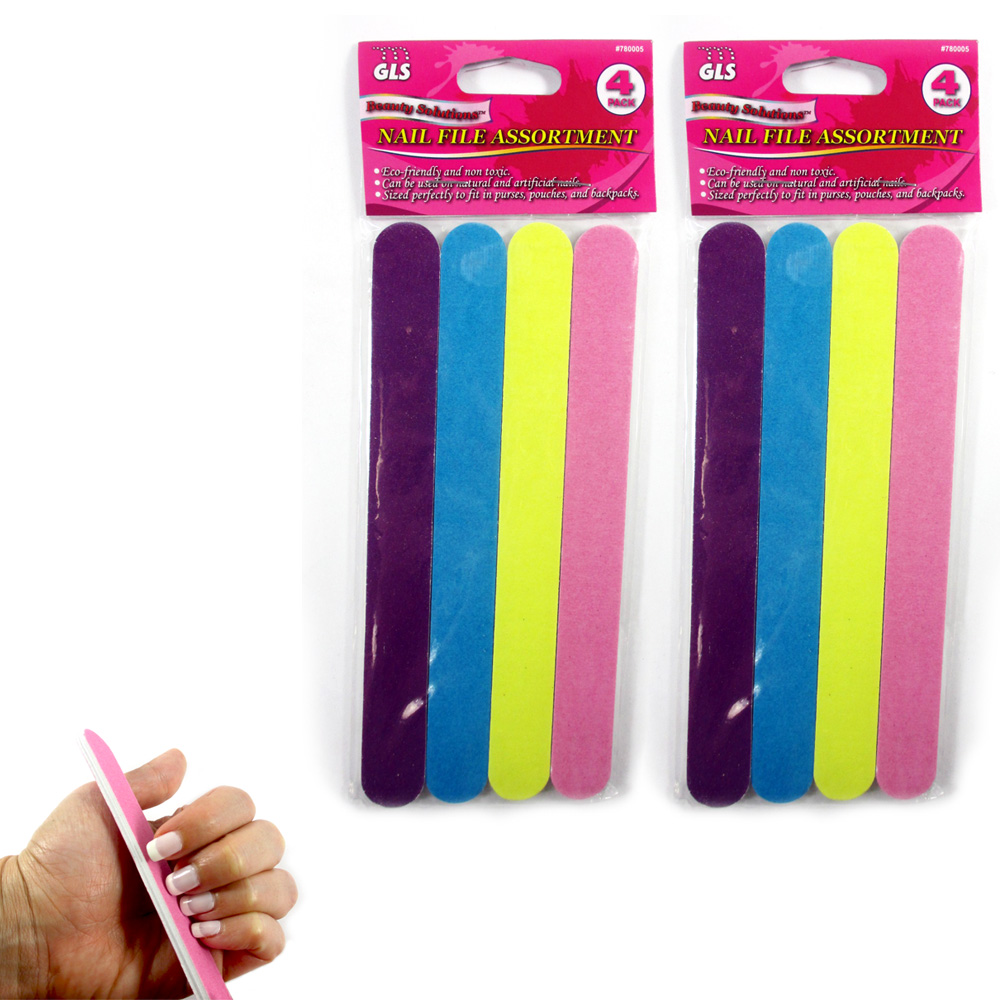 8 Pc Double Sided Nail File Emery Board Gel Manicure Pedicure Beauty Spa Files