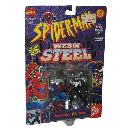 - Marvel Spider-Man Web of Steel vs Venom Toy Biz Die Cast Figure Set