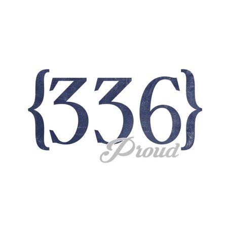 Greensboro, North Carolina - 336 Area Code (Blue) Print Wall Art By Lantern