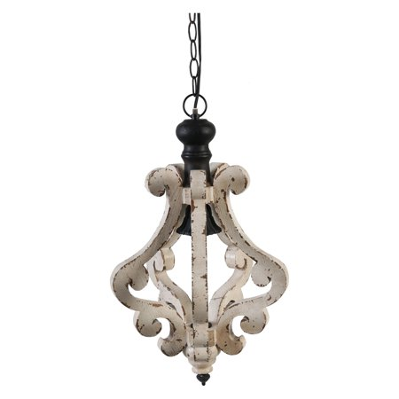 A & B Home Distressed White Wood Chandelier