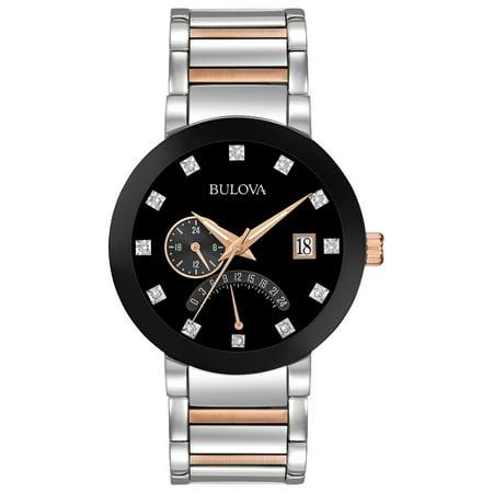 Bulova Men's Diamonds Black Dial Two Tone Bracelet Watch 98D129