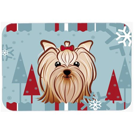 Winter Holiday Yorkie Yorkishire Terrier Mouse Pad, Hot Pad &