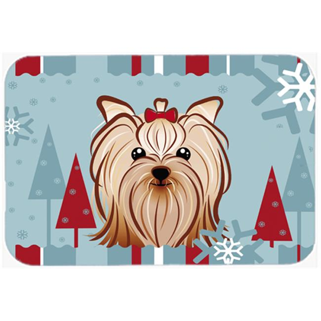 Winter Holiday Yorkie Yorkishire Terrier Mouse Pad, Hot Pad & Trivet