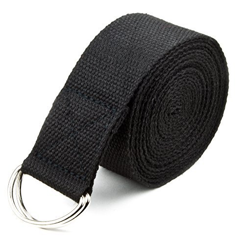 Crown Sporting Goods 10' Cotton Yoga Pose Support Strap, Metal D Ring, Black