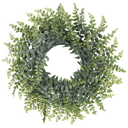 Artificial Green Leaf Wreath, 14'' Boxwood Round Wreath for Front Door Wall Window Party Décor ()
