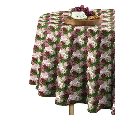 """Fabric Textile Products Positive Negative Floral Tablecloth 60"""" Round"""
