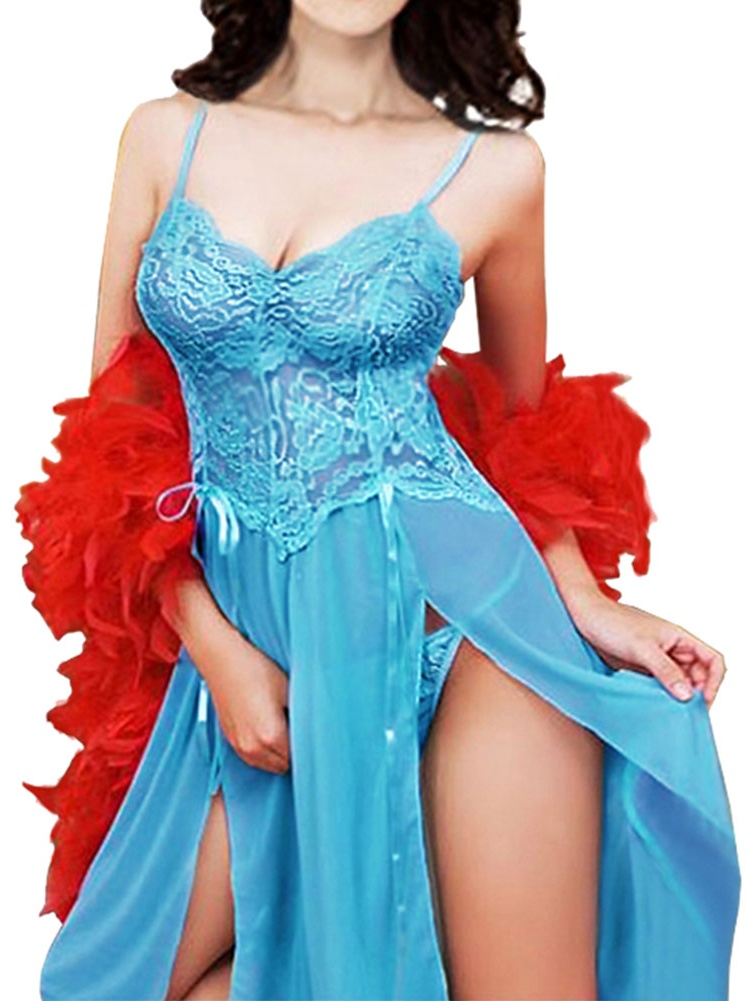 Starvnc Plus Size Women Lingerie Bodydoll Lace High Split Night Dress Sleepwear