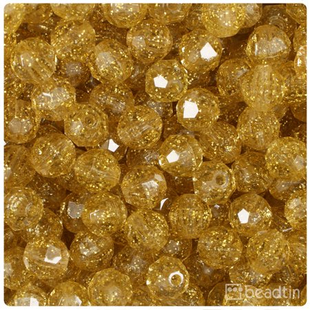 BeadTin Gold Sparkle 10mm Faceted Round Craft Beads (210pcs) 10 Mm Round Gem