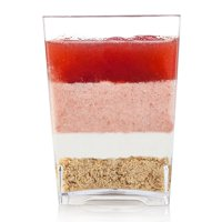 Elegant 4 oz Square Dessert Cup made from Durable Crystal Clear Plastic(50 Count) Appetizer-Souffle cup Case of 400