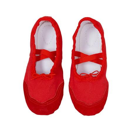 Wenchoice Girls Red Elastic Strap Rounded Toe Stylish Ballet Shoes