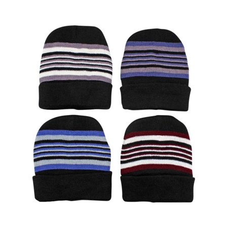 Men'S 4-Pack Striped Knit Fleece Lined Winter Beanie Cap Hats