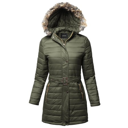 FashionOutfit Women's Solid Sherpa Lining Fur Trimmed Hoodie Long