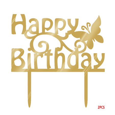 fashionhome Happy Birthday Cake Topper Acrylic Gold Twinkle DIY Glitter Cupcake Cake Smash Candle Party Handmade Stick - image 4 of 5