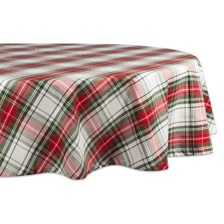 DII Christmas Plaid Round Tablecloth, 100% Cotton with 1/2