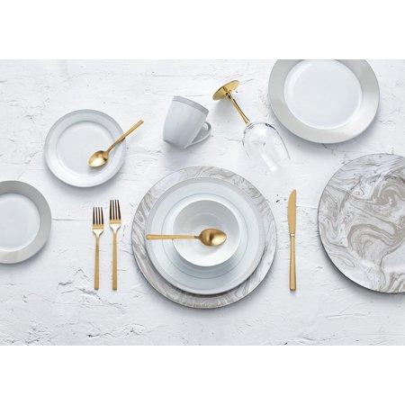Safdie & Co. 16-Piece Round Rim Dinnerware Set, Taupe, Dot (Dinnerware Narrow Rim)
