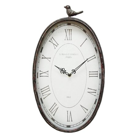 Stratton Home Decor Antique Oval Bird Clock