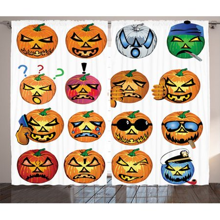 The Holiday Aisle Halloween Decorations Carved Pumpkin with Emoji Faces Halloween Humor Hipster Monsters Art Graphic Print & Text Semi-Sheer Rod Pocket Curtain Panels (Set of 2)