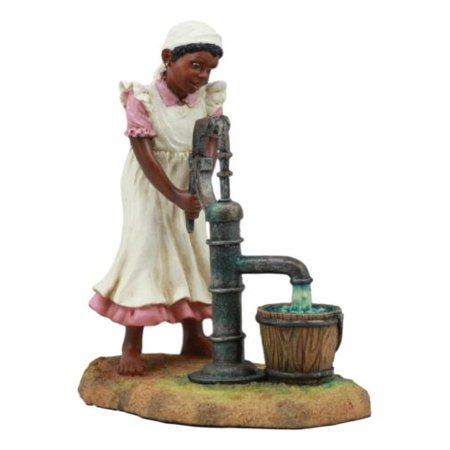 Vintage Black Americana History African American Girl Pumping Water Statue 6.5