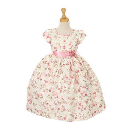 Little Girls Pink Floral Jacquard Corsage Easter Dress 4 Pink Floral Jacquard