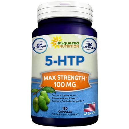 5-HTP (100 mg 180 Capsules) - Max Force supplément Pure -amp- Natural 5 HTP pilules pour améliorer l'humeur du sommeil stress