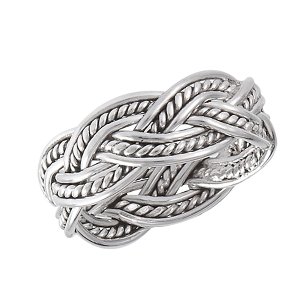 Princess Kylie 925 Sterling Silver Hearts Roped Eternity Ring